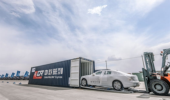 First China-built Volvo S90 sedans arrive in Europe via ground-breaking rail link